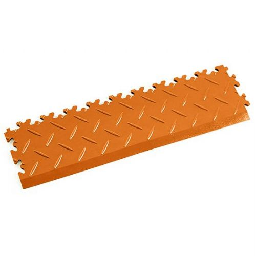 Orange Diamond Plate - Interlocking Tile Edging